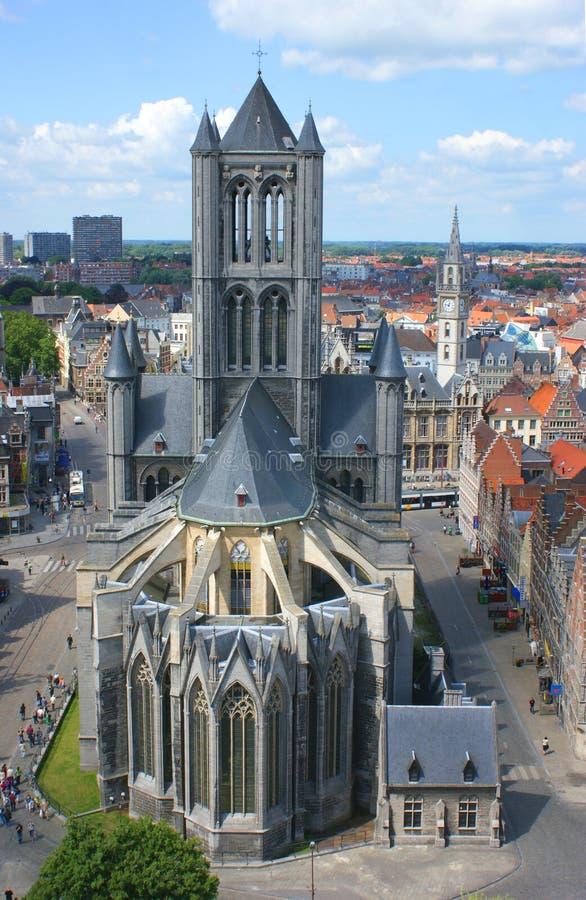 Iglesia San Nicolas Ghent imágenes de archivo libres de regalías
