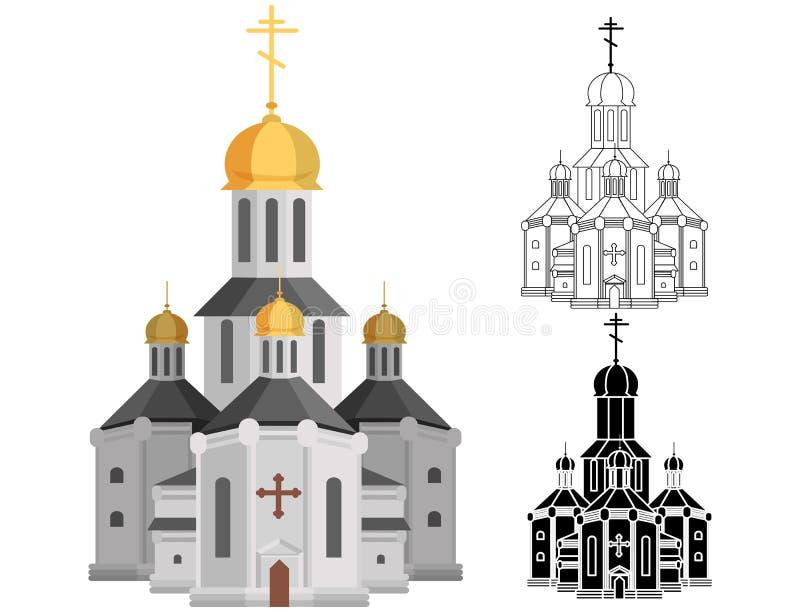 Iglesia santa de la historieta de la religión cristiana con la cruz en arte superior de la línea y de la forma libre illustration