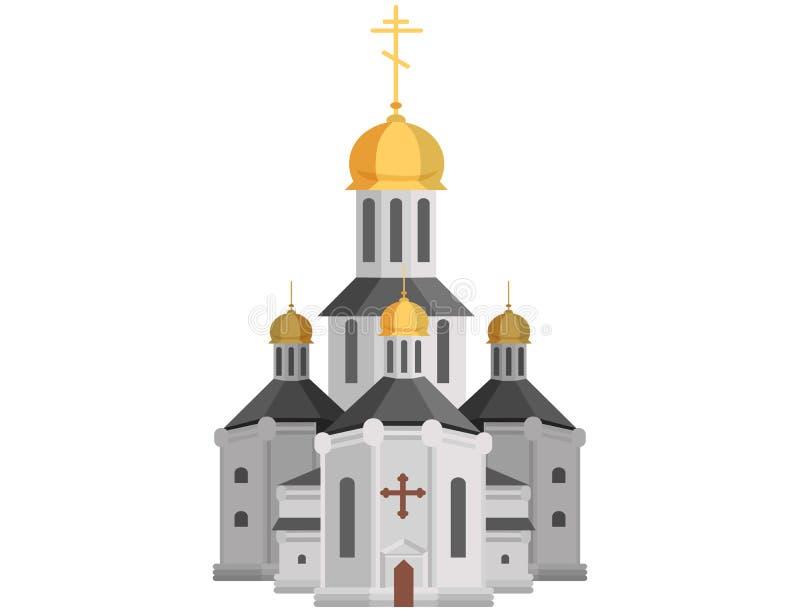 Iglesia santa de la historieta de la religión cristiana con la cruz en el top ilustración del vector