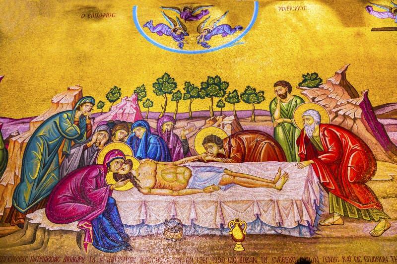 Iglesia Santo Sepulcro Jerusalén Israel del mosaico de la cruz de Cristo fotos de archivo libres de regalías