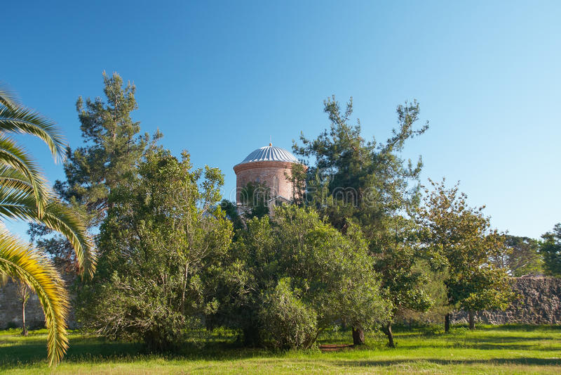Iglesia vieja detrás de árboles foto de archivo