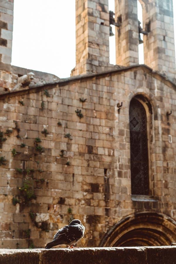 Iglesia vieja en el cuarto g?tico de Barcelona Tambi?n se llama como Barri Gotic foto de archivo libre de regalías