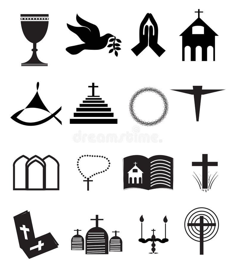 Iglesia y otros iconos cristianos del símbolo fijados ilustración del vector