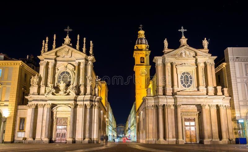Iglesias de San Carlo y de Santa Cristina en Turín imagenes de archivo