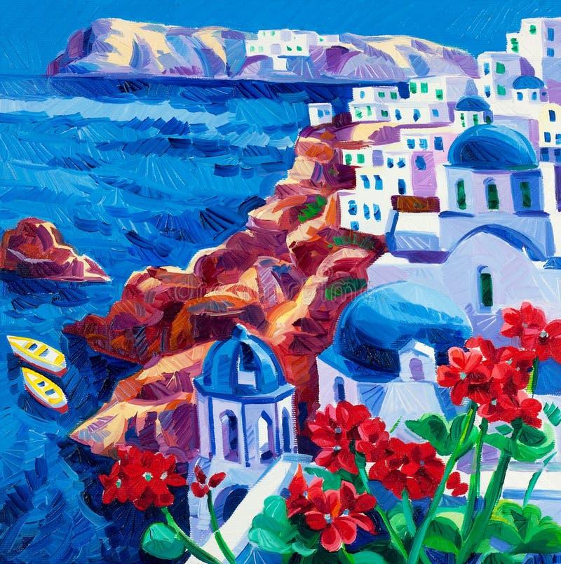 Iglesias de Santorini imagen de archivo libre de regalías