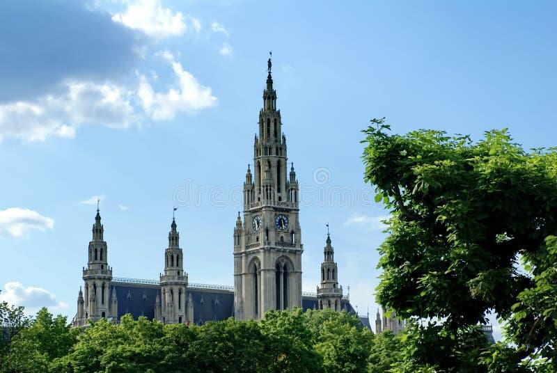 Iglica rathaus w Wiedeń zdjęcia royalty free