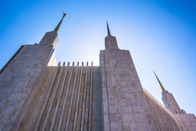 Iglicy washington dc mormonu świątynia w Kensington, Marylan zdjęcie royalty free