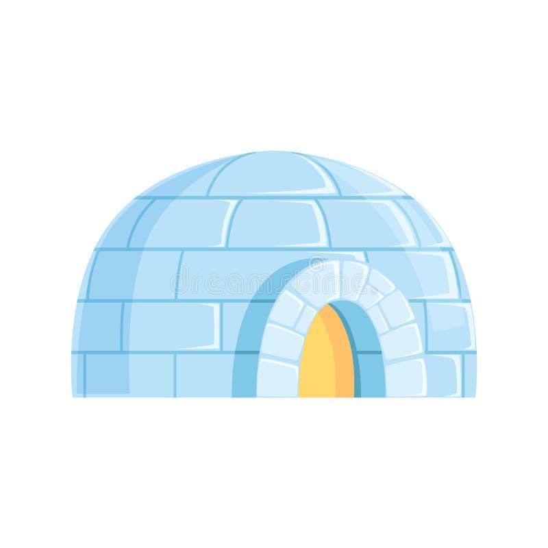 Iglo, ijzig koud die huis, de winter van de vectorillustratie van ijsblokken wordt gebouwd royalty-vrije illustratie