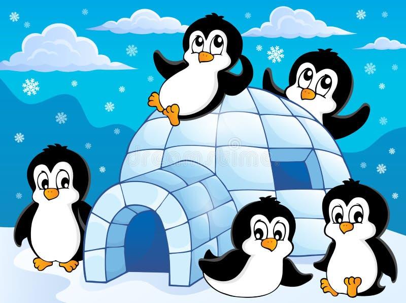 Iglo met pinguïnenthema 1 stock illustratie