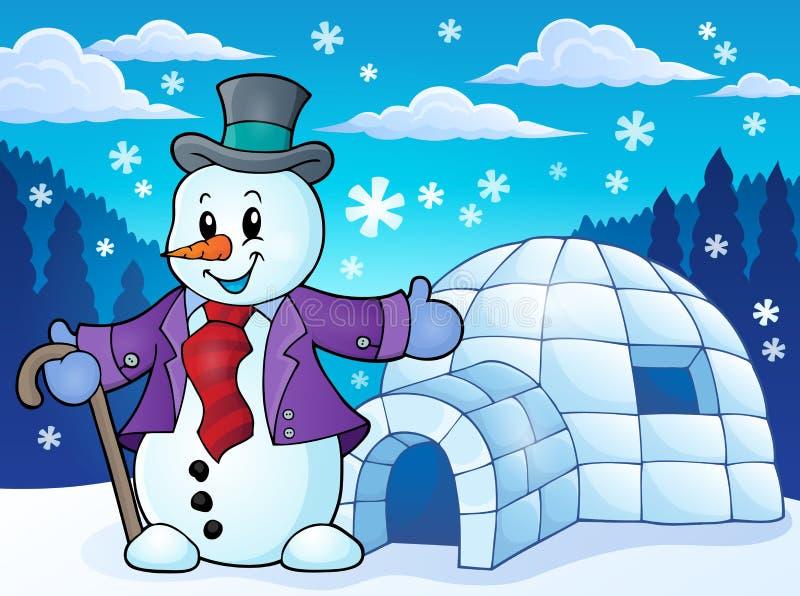 Iglo met sneeuwmanthema 1 stock illustratie