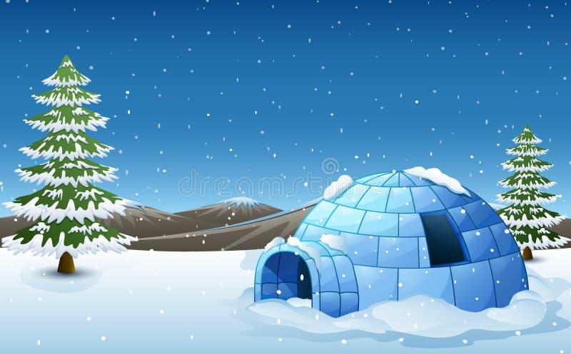 Iglo met sparren en bergen in de winterillustratie stock illustratie