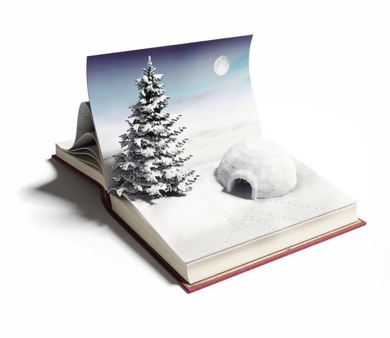 Iglo op het open boek stock illustratie