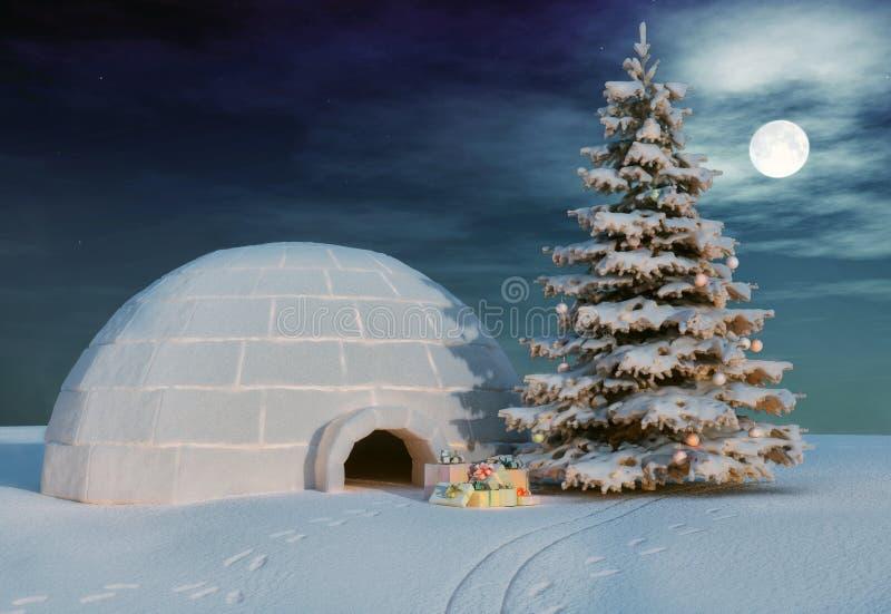 Iglo van Kerstmis royalty-vrije illustratie