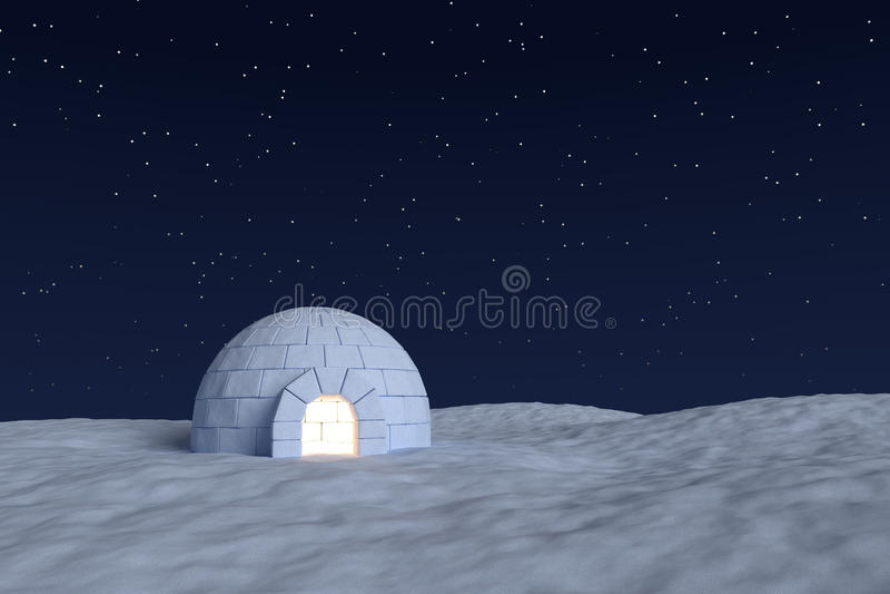 Igloicehouse met warm licht binnen onder nachthemel met sterren royalty-vrije illustratie