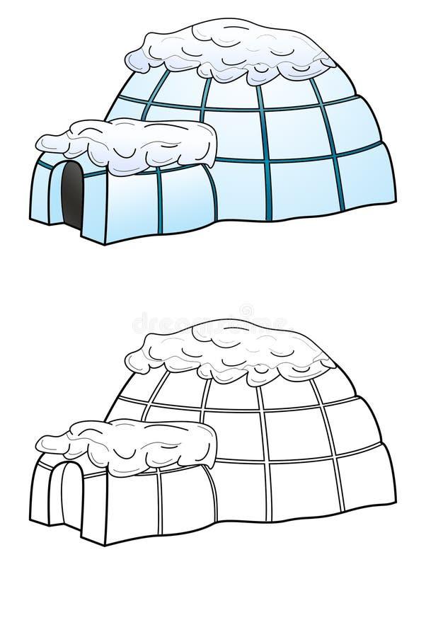 Igloicehouse op witte achtergrond wordt geïsoleerd die royalty-vrije illustratie
