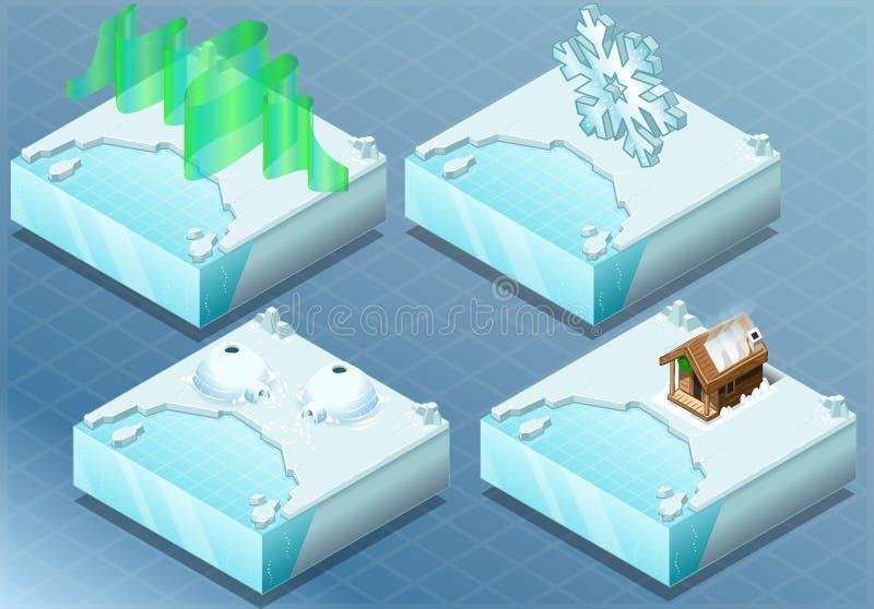 Igloo arctique isométrique, l'aurore, sauna, flocon de neige illustration stock