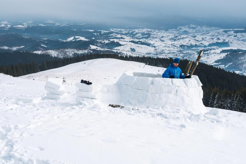 Igloo building in the high mountain royalty free stock photos