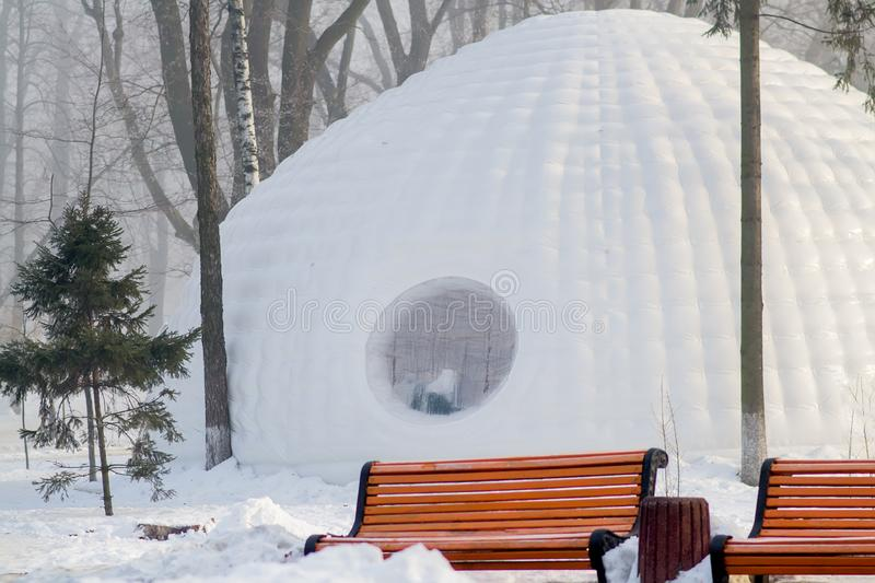Igloo building in the park stock photo