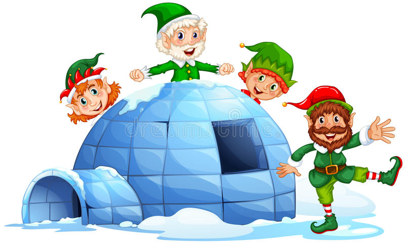 Igloo and elves royalty free illustration
