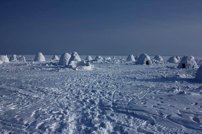 Igloo. Eskimos village. Winter dwelling of Eskimos. Igloo. Eskimos village. Winter background royalty free stock image