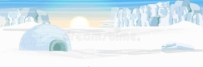 igloo Icehouse Lodowy mieszkanie eskimosy Śnieg zakrywająca równina lodowowie royalty ilustracja