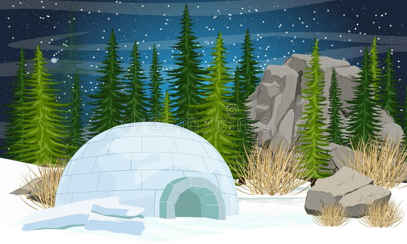 igloo Icehouse Moradia do gelo dos esquim?s Floresta do abeto vermelho, pedras e montanhas, grama seca ilustração royalty free