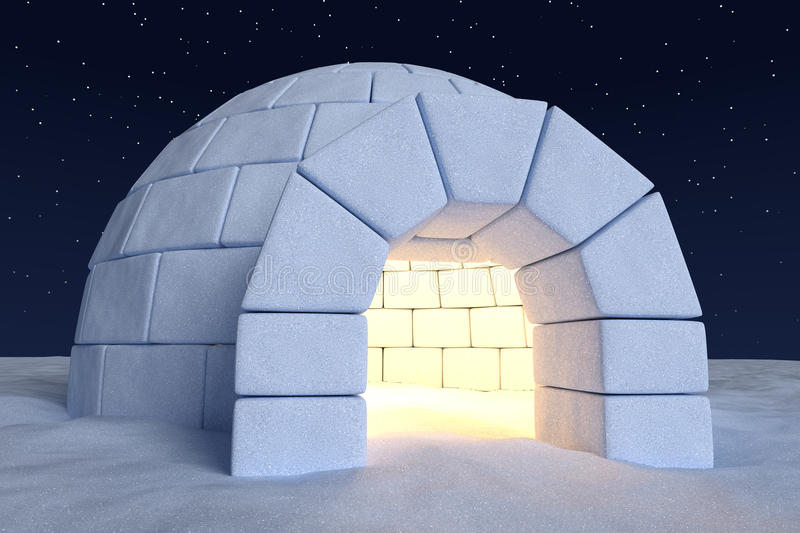 Igloo icehouse with warm light inside under sky with night for Interieur igloo
