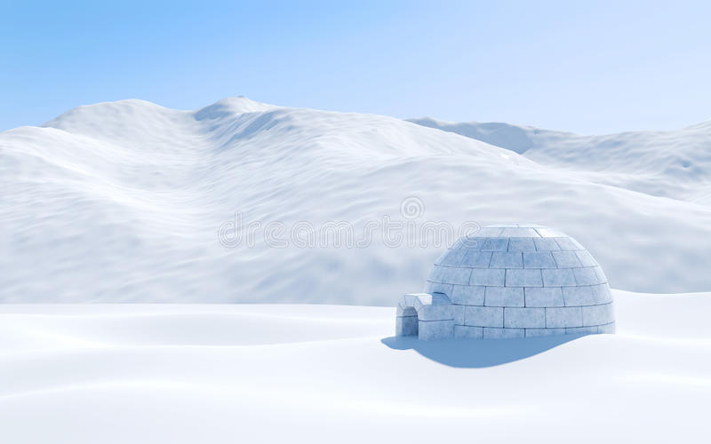 Igloo isolated in snowfield with snowy mountain, Arctic landscape scene. 3D rendering stock photo