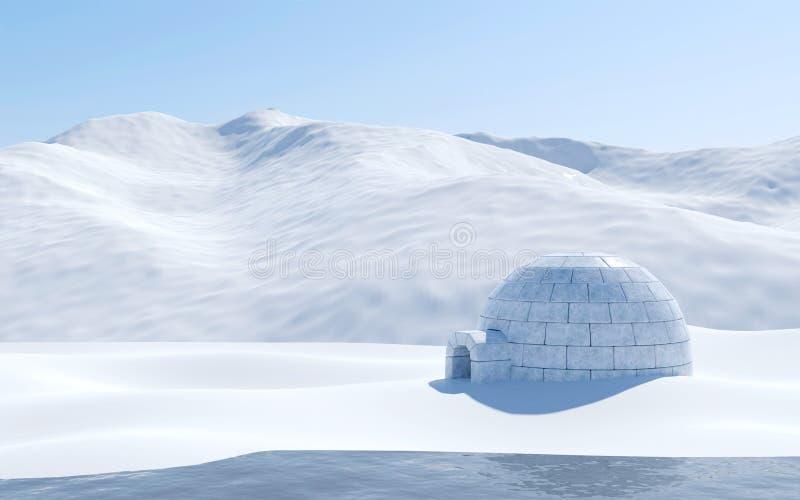 Igloo odizolowywający w snowfield z jeziorem i śnieżną górą, Arktyczna krajobrazowa scena zdjęcia royalty free