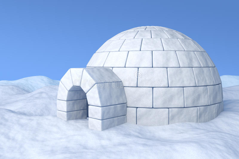 Igloo on snow. Igloo icehouse on the white snow under blue sky three-dimensional illustration royalty free illustration