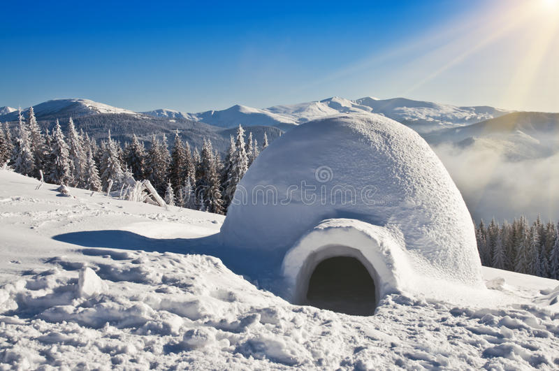 Igloo on the snow stock image