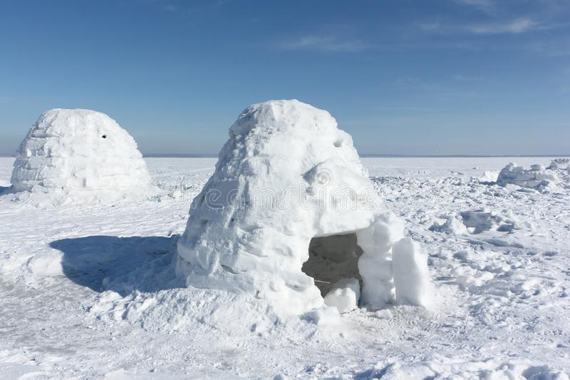Igloo standing on a snowy glade. In the winter royalty free stock image