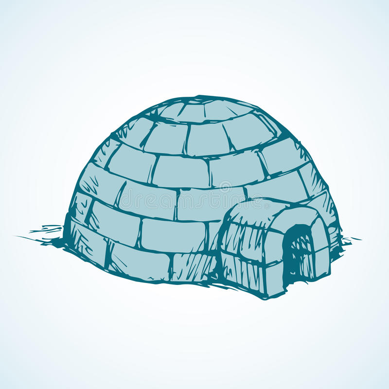 igloo vector drawing stock vector illustration of dome