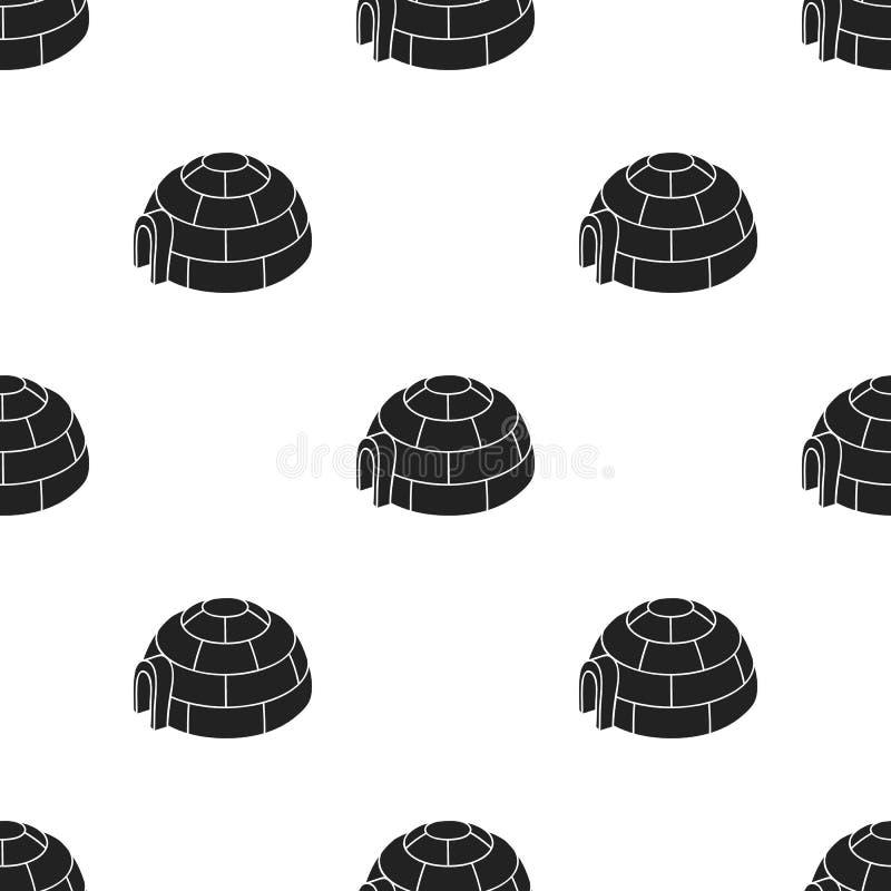 Iglopictogram in zwarte die stijl op witte achtergrond wordt geïsoleerd Van de het patroonvoorraad van de skitoevlucht de vectori royalty-vrije illustratie