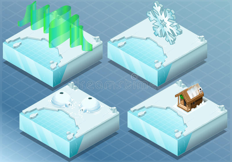 Iglu ártico isométrico, Aurora, sauna, floco da neve ilustração stock