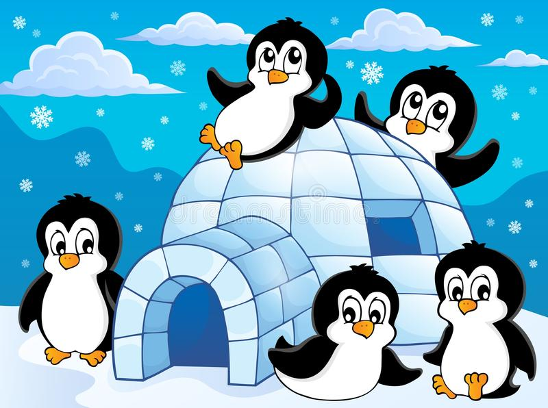 Iglu com tema 1 dos pinguins ilustração stock