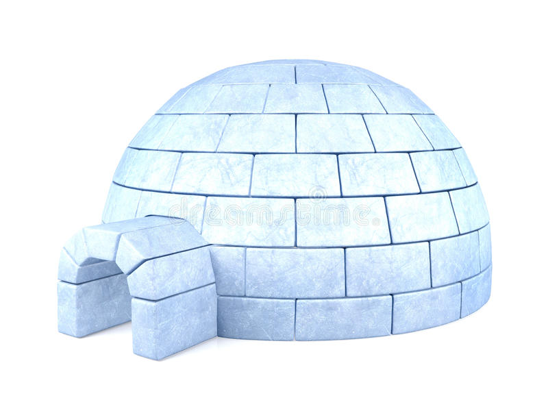 Iglu congelado isolado no fundo branco fotografia de stock royalty free