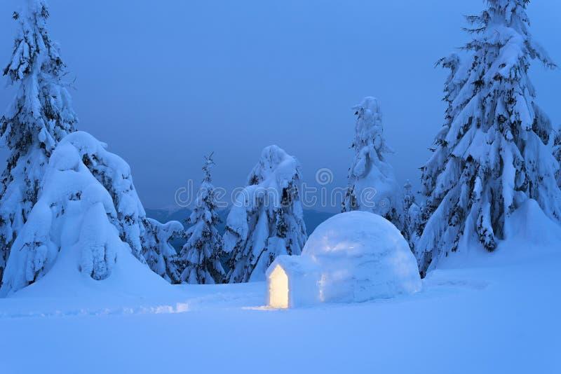 Iglu da neve na floresta da montanha do inverno fotos de stock royalty free