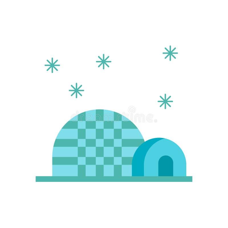 Igluikonenvektor lokalisiert auf weißem Hintergrund, Igluzeichen, schneebedeckte kalte Wintersymbole vektor abbildung