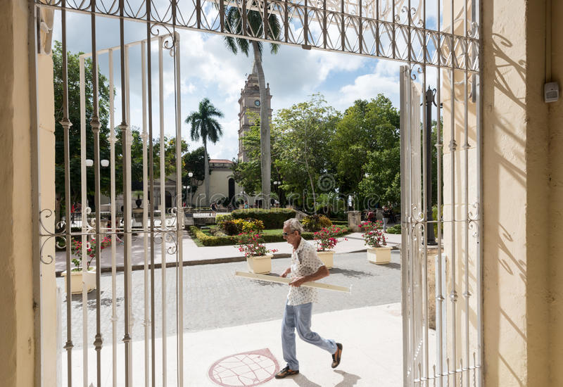 Ignacio Agramonte plaza framed in colonial iron work-Cuba stock images