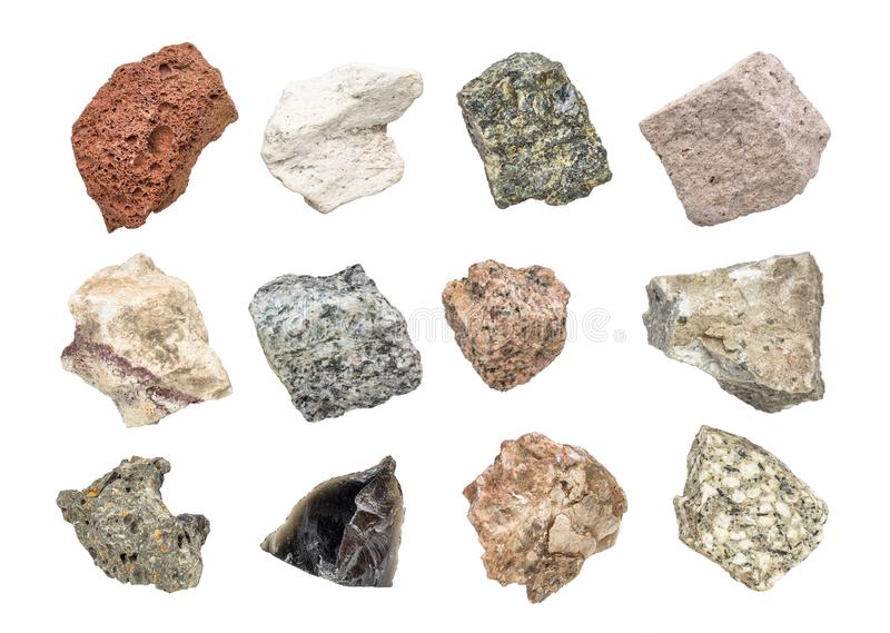 Igneous rock geology collection isolated on white. Isolated igneous rock collection. The set includes from top left the following rocks scoria, pumice, gabbro royalty free stock photos