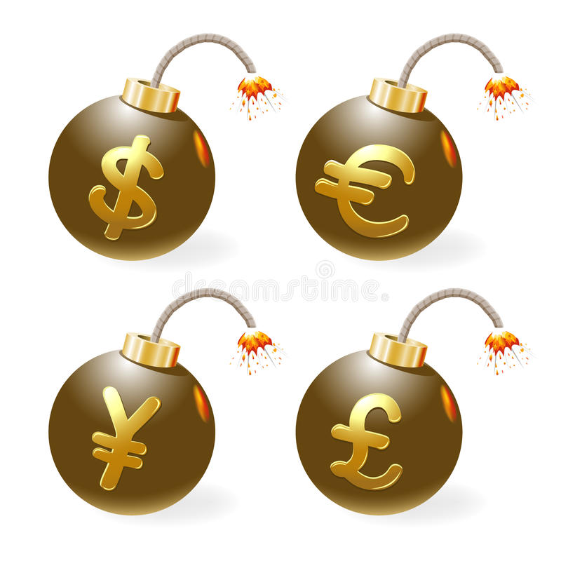 Download Ignited Bombs With Currency-symbols Stock Photos - Image: 23214083