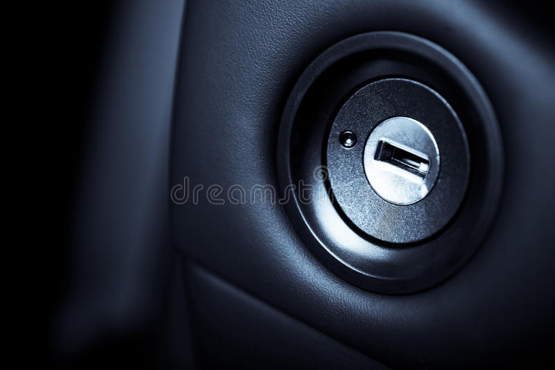 Ignition. Close up shot of the ignition keyhole in a car royalty free stock photography