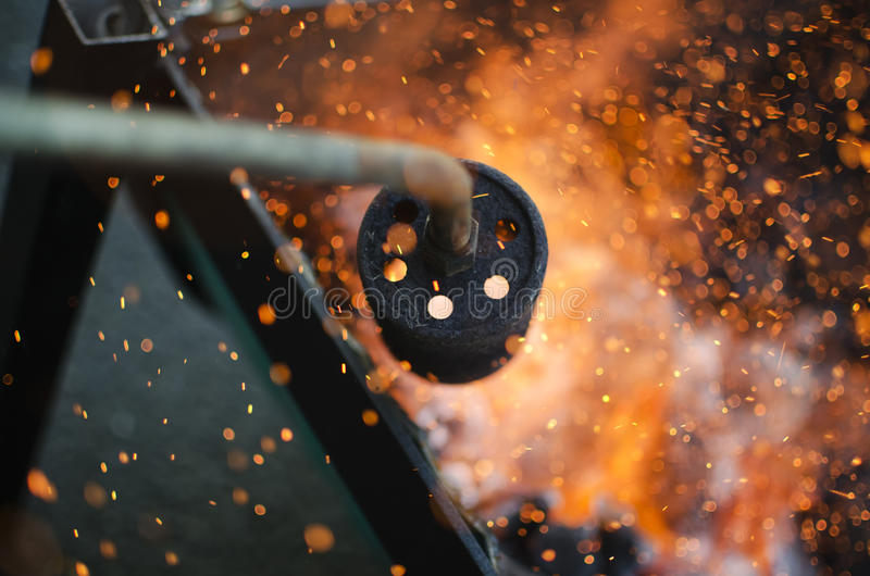Ignition of the coal stock photography