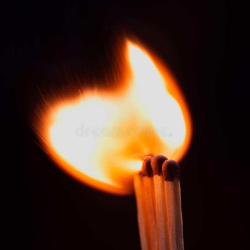 Ignition of match with smoke stock photo