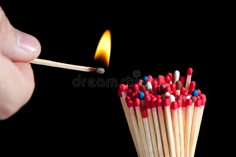 Download Ignition of matches stock image. Image of bright, head - 20515815