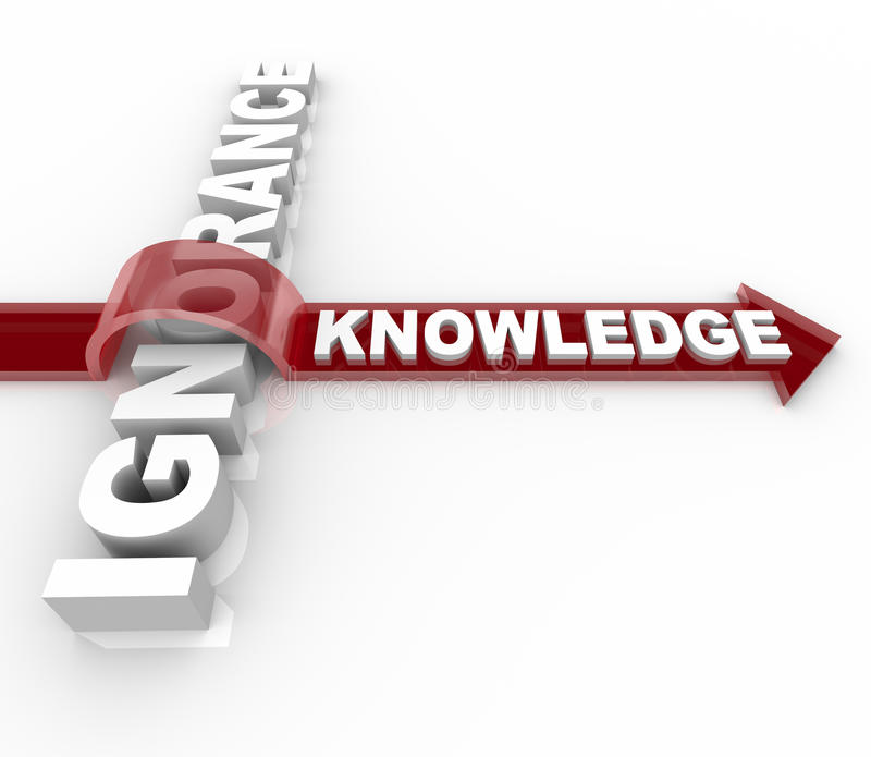 Ignorance contre la connaissance - victoires d'éducation illustration stock