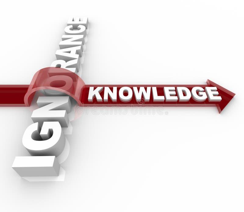 Ignorancia contra el conocimiento - triunfos de la educación stock de ilustración