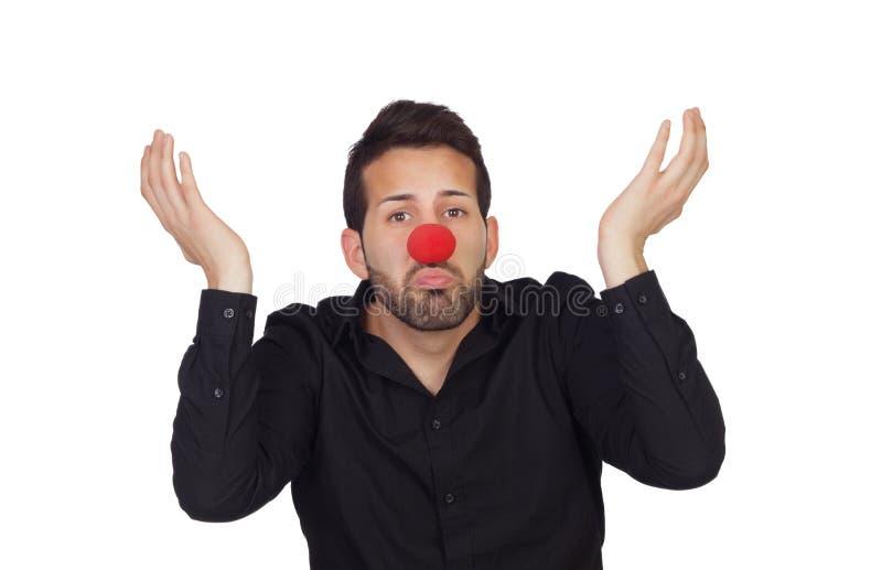 Ignorancki biznesmen z błazenu nosem obraz stock