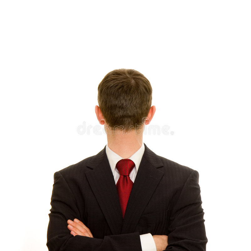 Ignore. Portrait of businessman with head facing the opposite way - ignore or ignoring concept